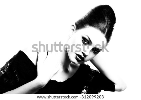Beautiful face of young adult woman with clean fresh skin. Beauty Model Woman Face. Perfect Skin. Professional Make-up.Makeup. Fashion Art.Vogue Style. B&W. Fine art. - stock photo