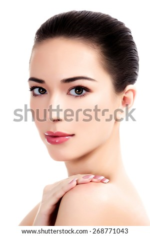 Beautiful face of young adult woman with clean fresh skin, white background, isolated, copyspace - stock photo