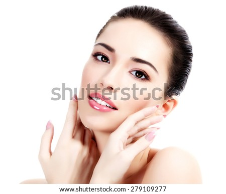 Beautiful face of young adult woman with clean fresh skin, white background, isolated, copyspace. - stock photo