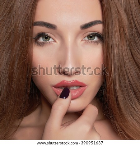 beautiful face of young woman. beauty girl close-up - stock photo