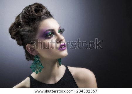 Beautiful face of young  woman with clean fresh skin. Beauty Model Woman Face. Perfect Skin. Professional Make-up.Makeup. Fashion Art  - stock photo