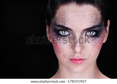 Beautiful Face of Young Woman with fashion makeup. Beauty Portrait.  Pure Beauty Model. Youth and makeup Concept  - stock photo