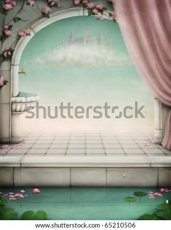 beautiful fairy-tale backdrop for an illustration or poster - stock photo