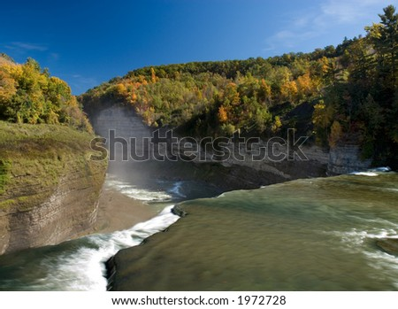 Beautiful fall colors in October over the Genesee River Gorge in Letchworth State Park, New York. - stock photo