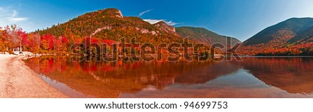 Beautiful fall panorama of Echo Lake, Franconia Notch. White Mountains, New Hampshire - stock photo