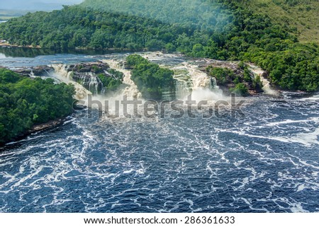 Beautiful falls in the lagoon of the Canaima national park (view from the plane) - Venezuela, Latin America - stock photo