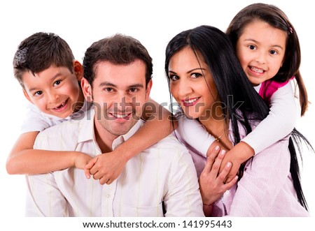 Beautiful family portrait smiling - isolated over a white background - stock photo