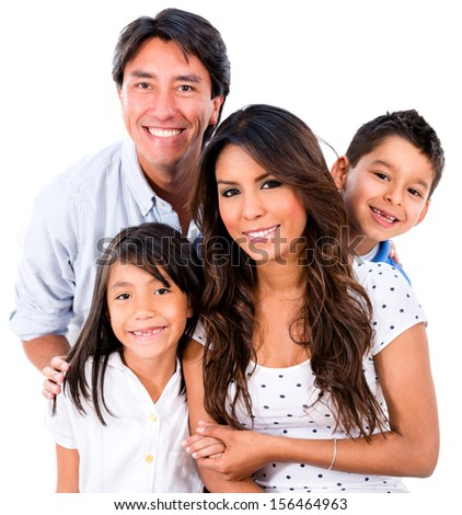 Beautiful family portrait smiling - isolated over white background  - stock photo
