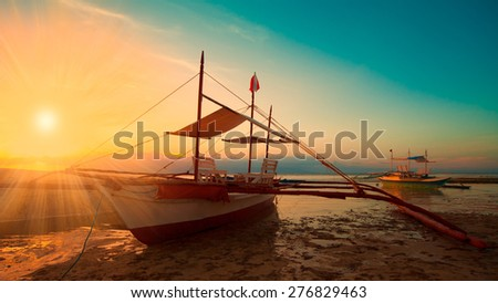 beautiful fantastic fairy sunset boat sea tropical nature background holiday luxury  resort island atoll about coral reef - stock photo