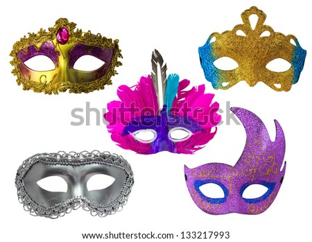 Beautiful Fantasy Mask Set Isolated On White Background - stock photo