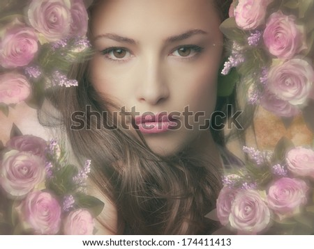 beautiful fantasy woman with frame of flowers - stock photo