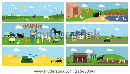 Beautiful Farmyard Cartoon Banner for Web Pages and Other Graphic Designs - stock photo