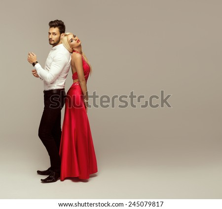 Beautiful fashion couple - stock photo