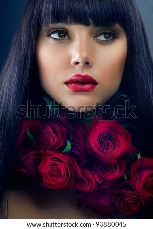 Beautiful Fashion Girl with Roses - stock photo