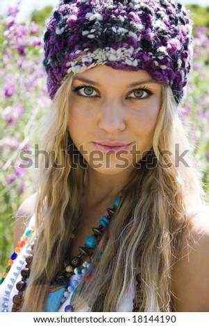 beautiful fashion model outdoors - stock photo
