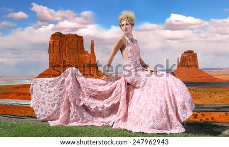 Beautiful Fashion Model Posing in a National Park - stock photo