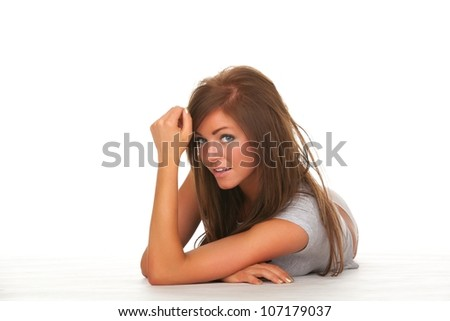 beautiful fashion pictures of model in studio - stock photo