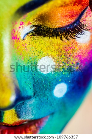 beautiful fashion woman color  face art - stock photo