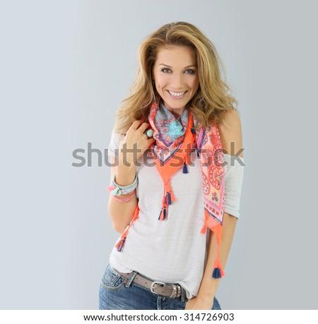 Beautiful fashion woman model, spring season - stock photo