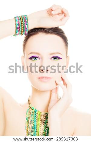 Beautiful Fashion Woman with Vivid Colorful Summer Makeup - stock photo