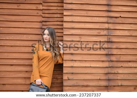 Beautiful fashionable girl stands near wooden wall and holding leather bag - stock photo