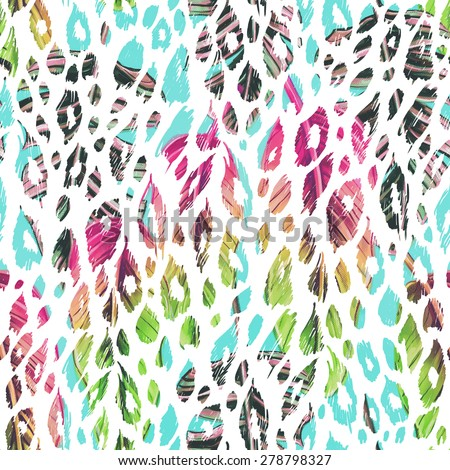 Beautiful fashionable seamless floral jungle pattern background. Colorful watercolor palm leaves, exotic animal print - stock photo