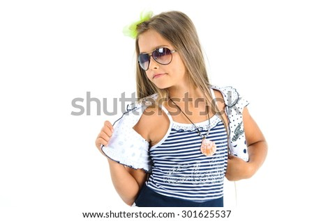 beautiful fashionable teen girl in studio on white, attractive girl in a summer dress after the holidays - stock photo