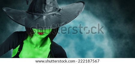 Beautiful fashionable witch with green skin in black hat and dress on background of full moon. Halloween theme - stock photo