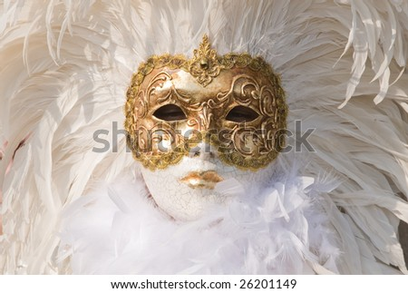 Beautiful feather mask in white - stock photo