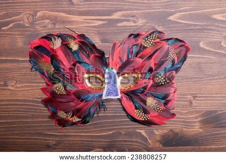 beautiful feather mask on brown board - stock photo