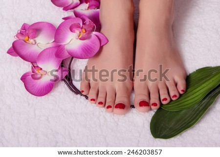 Beautiful feet with perfect spa french nail pedicure. Foot care, cleansing, moisturizing - stock photo