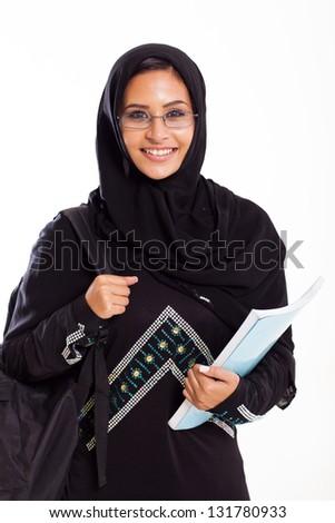 beautiful female Arabian university student isolated on white - stock photo