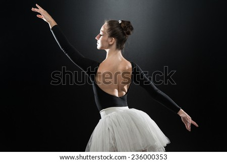 Beautiful Female Ballet Dancer On A Black Background - Ballerina Is Wearing A Tutu And Pointe Shoes - stock photo