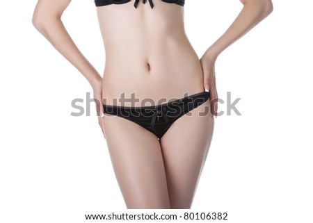Beautiful female body isolated on white background. Sexy young woman in black panties. beauty concept - stock photo