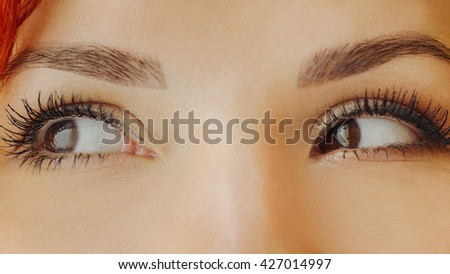 Beautiful female brown eyes with long eyelashes. Emotions. Close up of a brown woman eyes looking away, smiling, squinting and blinking. Beautiful girl eyes and eyelashes. Attractive face of female. - stock photo