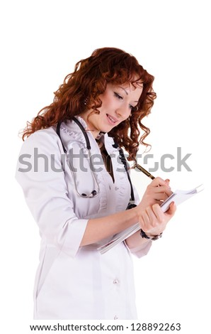 Beautiful female doctor - isolated over a white background - stock photo