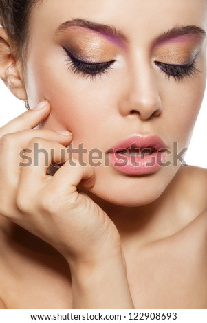 beautiful female face with natural makeup, closed eyes - stock photo