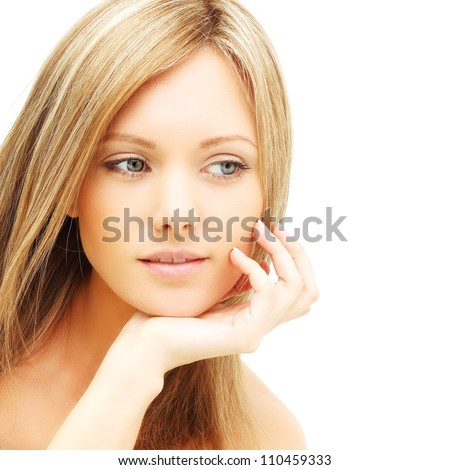 Beautiful female face - young woman isolated - stock photo