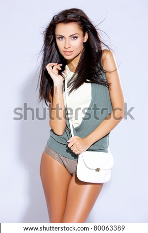 Beautiful female fashion model isolated on white - stock photo