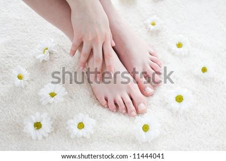 Beautiful female feet and hand / Spa treatment - stock photo
