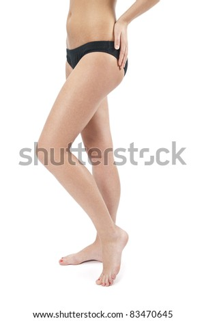 beautiful female figure with hands over white - stock photo