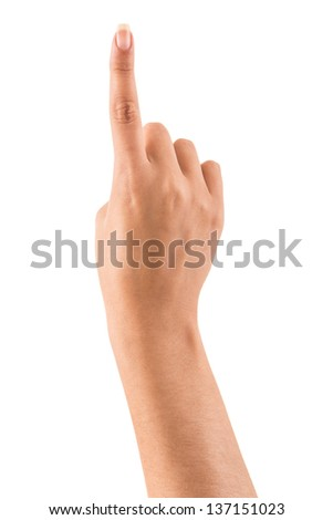 Beautiful female hand pointing up - stock photo
