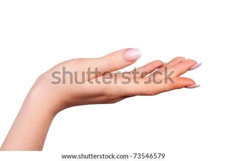 Beautiful female hand with french manicure - stock photo