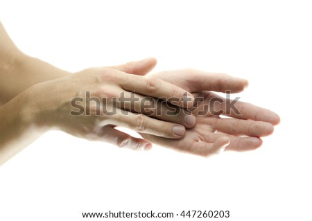 Beautiful female hands, close up, isolated on white - stock photo
