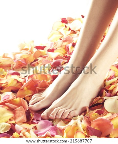 Beautiful female legs over spa background.  - stock photo