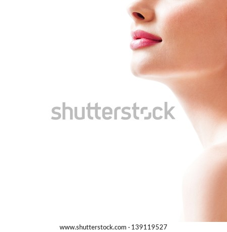 Beautiful female lips - stock photo
