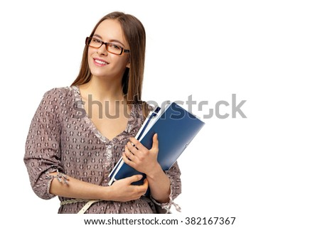 Beautiful female student with books isolated on white background. - stock photo