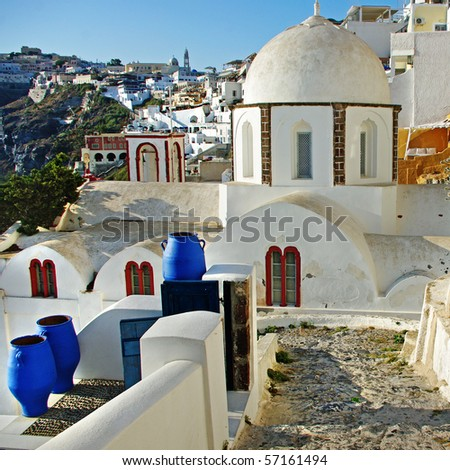 beautiful Fira town - Santorini - stock photo