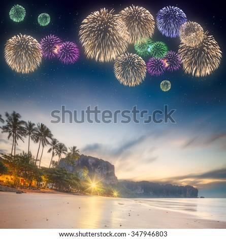 Beautiful fireworks above night tropical landscape with beautiful blue sky and stars. Thailand - stock photo