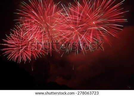 Beautiful Fireworks display in the night sky/Fireworks display - stock photo